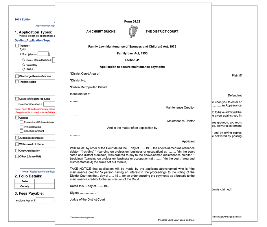 LEAP Legal Software - Three Republic of Ireland Forms